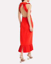 Pleated Crepe Sheath Dress, RED, hi-res