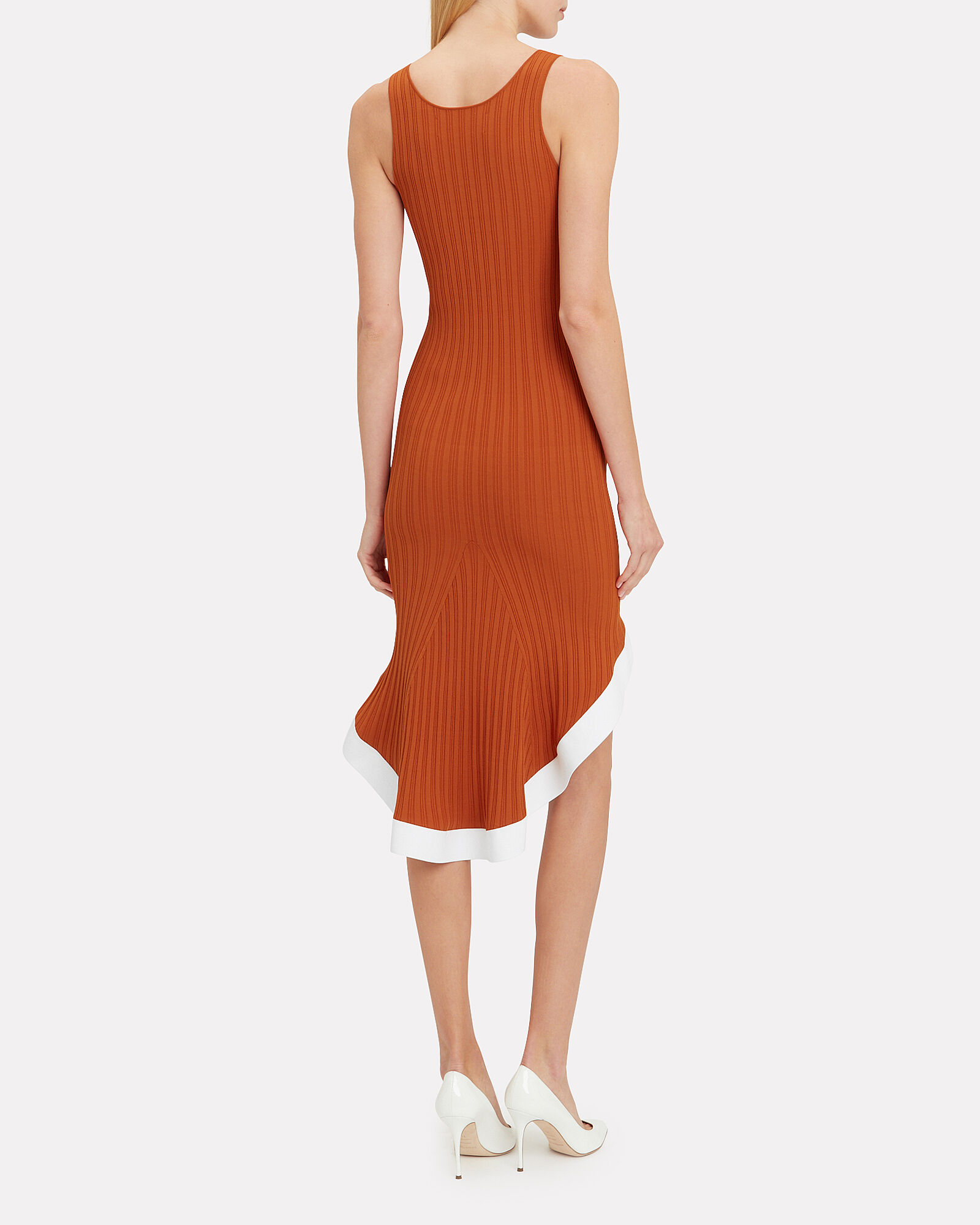 Rust Ribbed Knit Contrast Dress, RED, hi-res