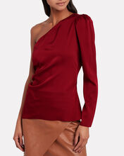 Ramona Silk One-Shoulder Top, RED, hi-res