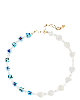 For Like Ever Beaded Necklace, BLUE-MED, hi-res