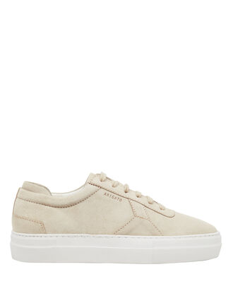 Platform Low-Top Suede Sneakers, SAND, hi-res