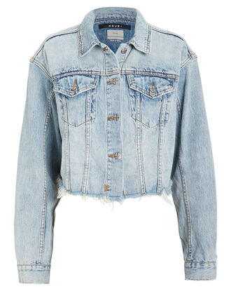 Daggerz Cropped Denim Jacket, LIGHT BLUE DENIM, hi-res