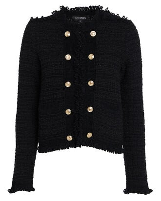 Lila Cropped Knit Jacket, BLACK, hi-res