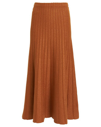 Lanie Metallic Ribbed Midi Skirt, SIENNA, hi-res