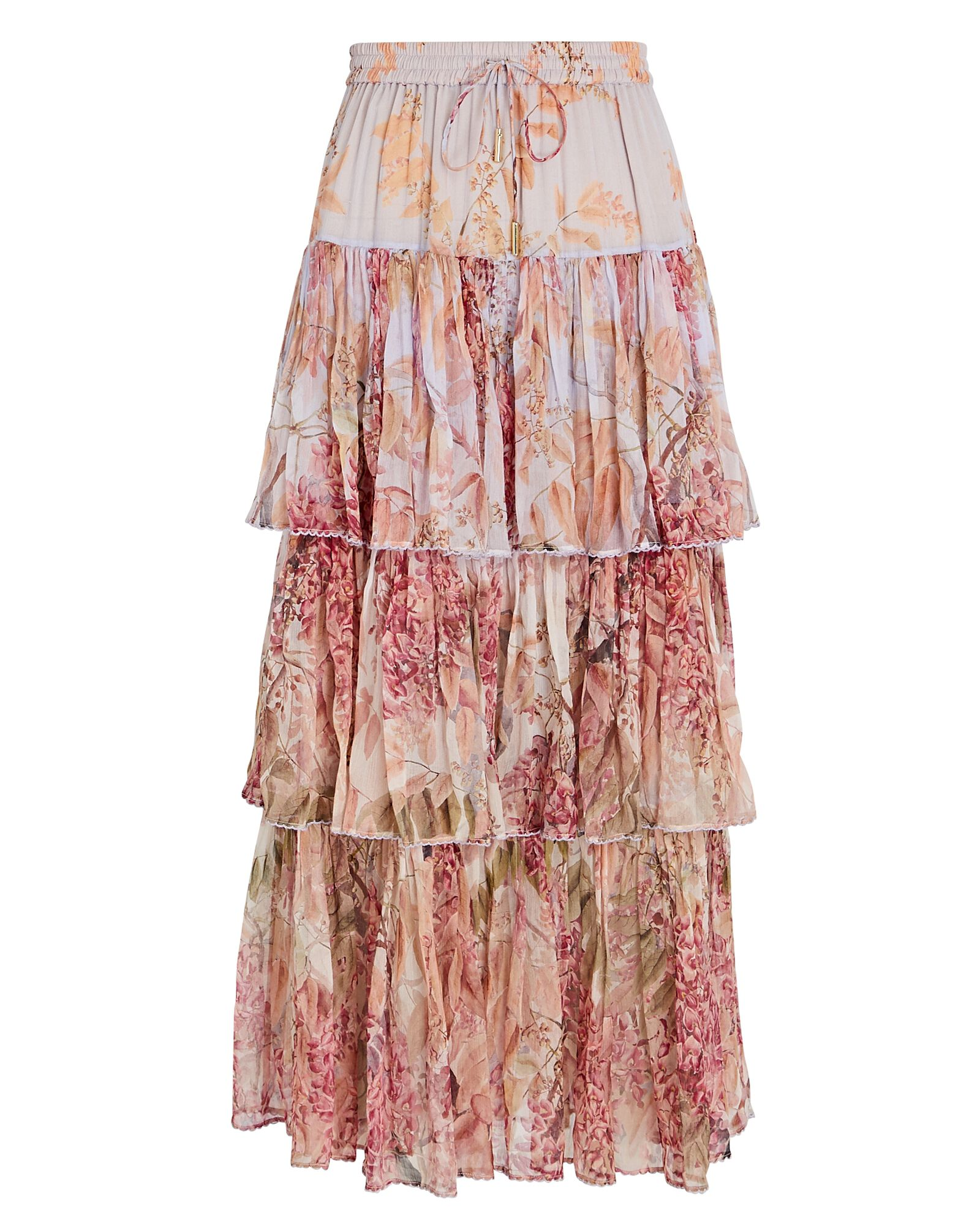 Botanica Tiered Silk Floral Skirt, LIGHT PURPLE/PINK, hi-res