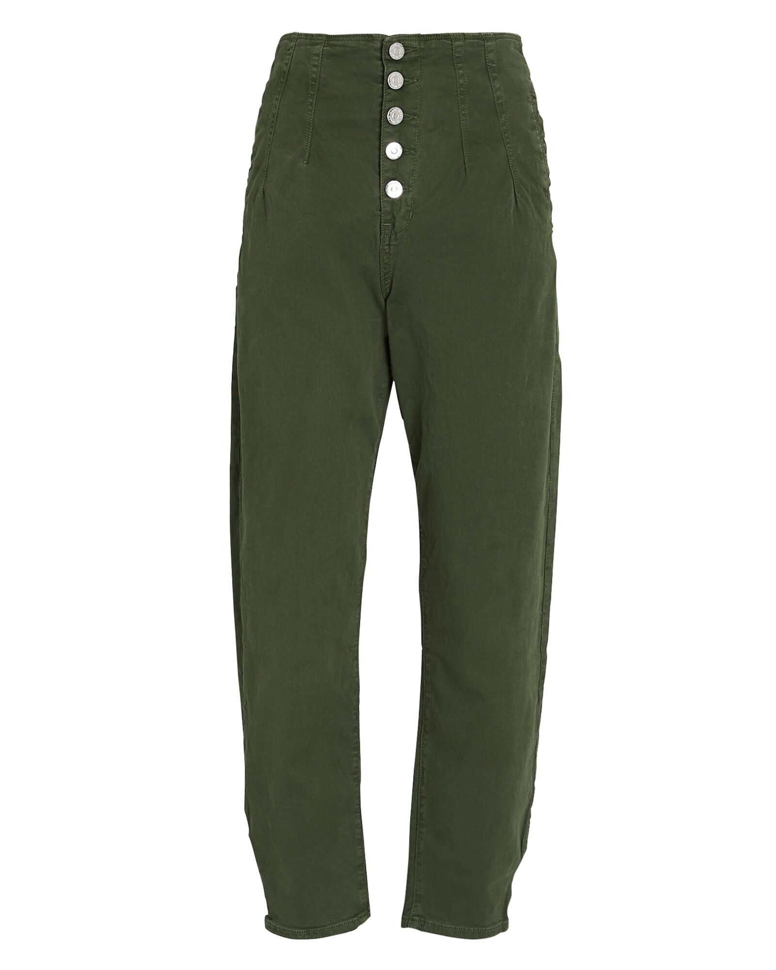 Nita Pegged Cotton Twill Pants, OLIVE/ARMY, hi-res