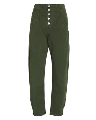 Nita Pegged Cotton Twill Pants, OLIVE, hi-res