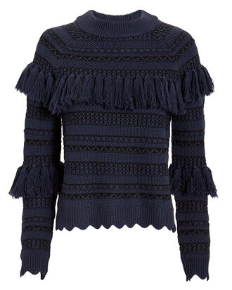 Tassel Knit Sweater, NAVY, hi-res