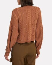 Cropped Aran Mock Neck Sweater, BEIGE, hi-res