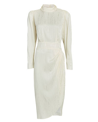Kaira Jacquard Satin Dress, WHITE, hi-res