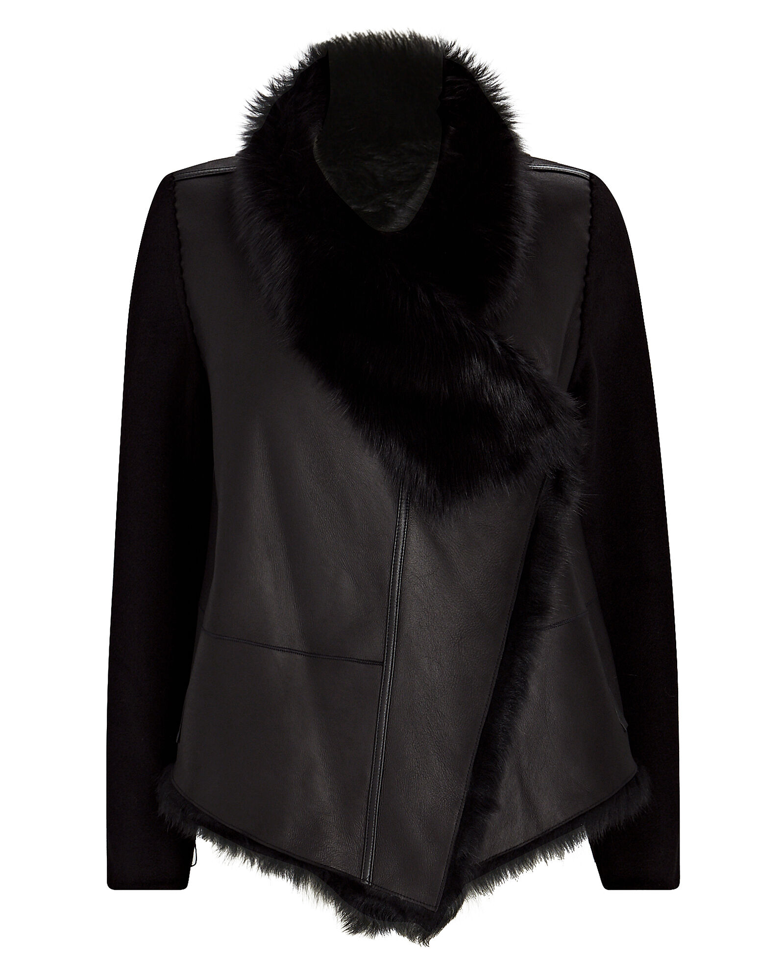 Reversible Wool-Trimmed Shearling Jacket, BLACK, hi-res