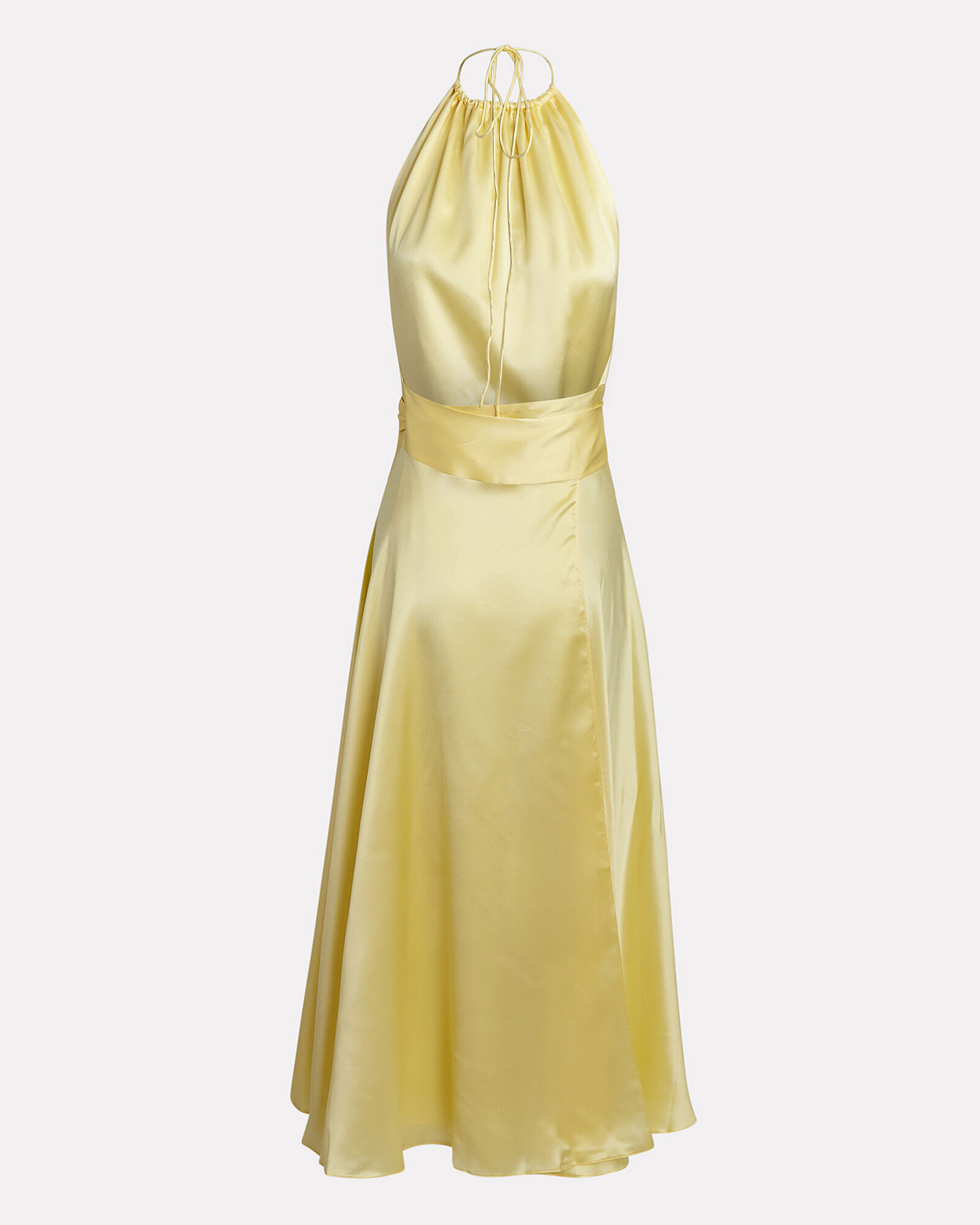 Silk Halter Midi Dress, YELLOW, hi-res