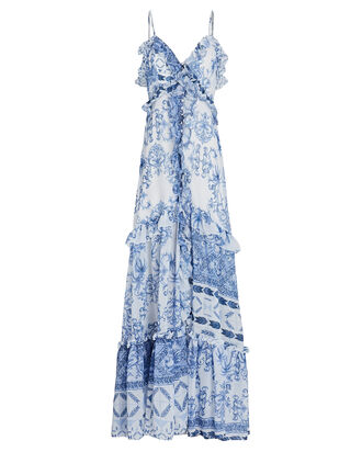 Amalfi Printed Maxi Dress, WHITE/BLUE, hi-res