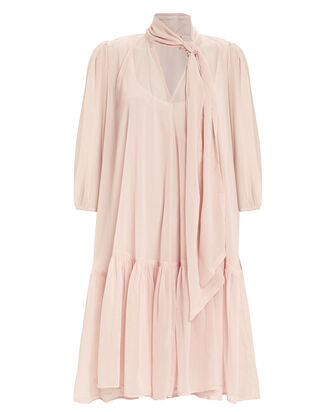 Tie Neck Swing Dress, BLUSH, hi-res