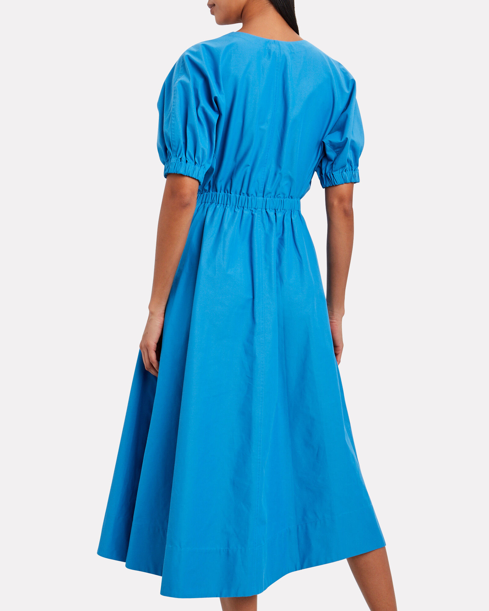 Belted Cotton-Blend Poplin Dress, AZURE, hi-res