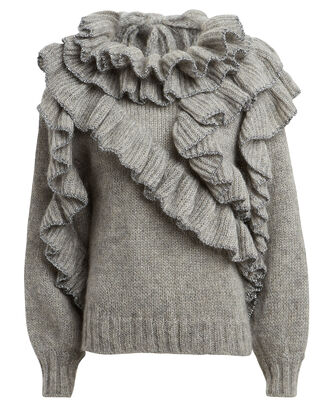 Ruffled Mohair-Blend Sweater, PEWTER, hi-res