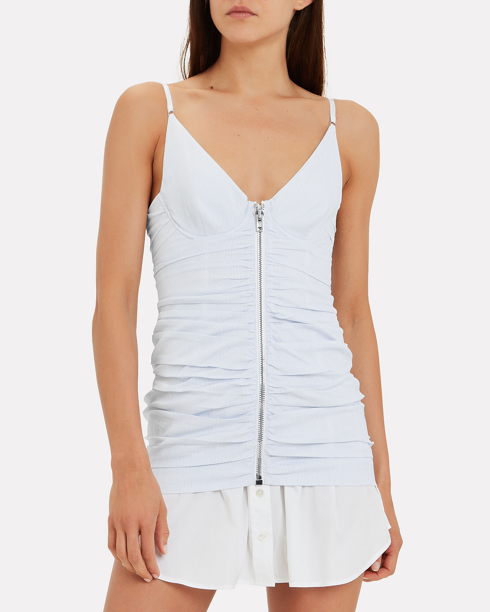 Ruched Pinstripe Camisole Dress, BLUE/WHITE, hi-res