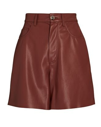 High-Rise Vegan Leather Shorts, BURGUNDY, hi-res