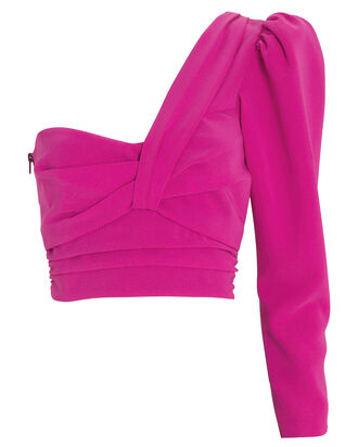 Lizzy One-Shoulder Crepe Blouse, MAGENTA, hi-res