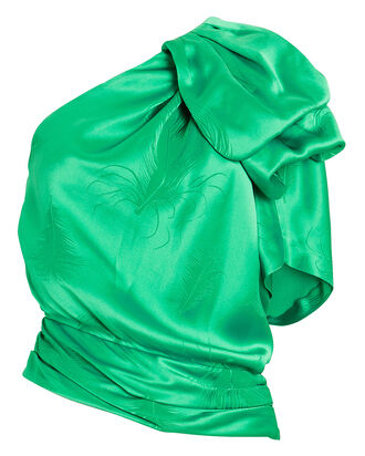 Artemesia One-Shoulder Satin Top, EMERALD, hi-res