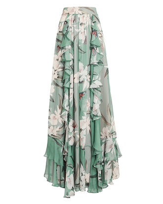 Orchid Ruffle Maxi Skirt, ORCHID/MINT, hi-res