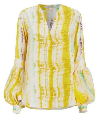 Barbara Crepe Silk Blouse, YELLOW/STRIPE, hi-res