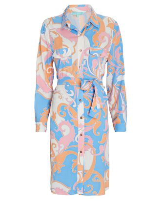 Veronica Printed Shirt Dress, BLUE/ORANGE/PINK, hi-res