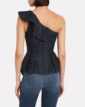 Fil Coupé One-Shoulder Top, NAVY, hi-res