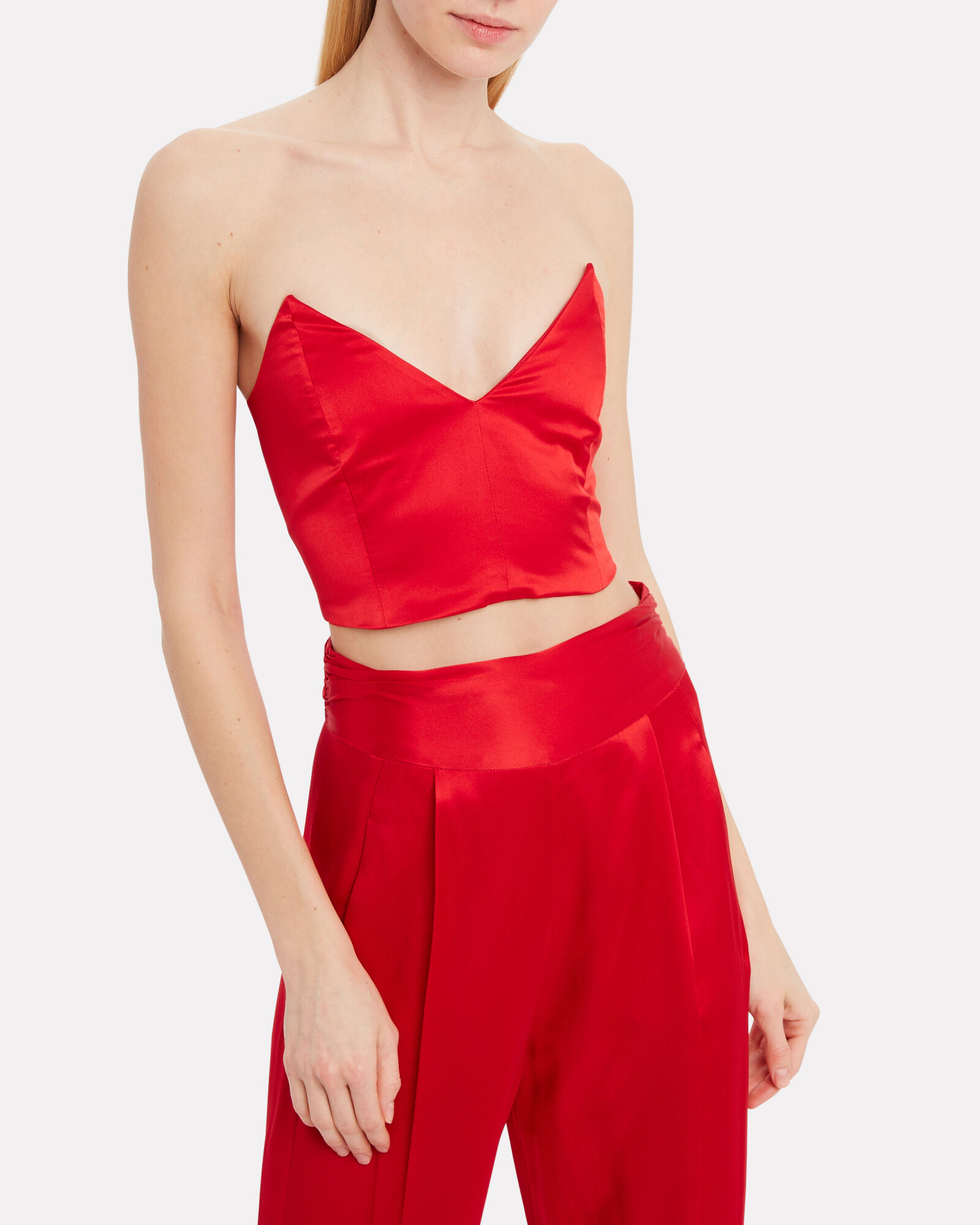 Silk Charmeuse Bustier Top, RED, hi-res