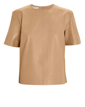 Saxonne Leather T-Shirt, BEIGE, hi-res