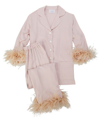 Feather-Trimmed Party Pajama Set, LIGHT PINK, hi-res