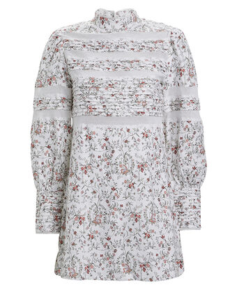 Haisley Floral Linen Shift Dress, IVORY FLORAL, hi-res