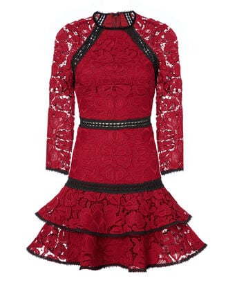 Kharis Lace Mini Dress, RED, hi-res