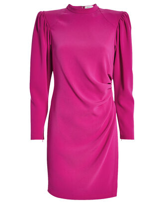Jane Draped Crepe Dress, MAGENTA, hi-res