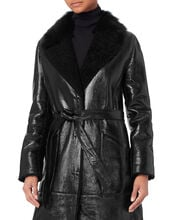 Patent Shearling Black Trench, BLACK, hi-res