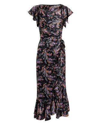 Nanon Ruffle Midi Dress, BLACK/FLORAL, hi-res