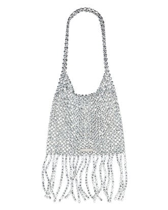 Cher Beaded Fringed Shoulder Bag, SILVER, hi-res