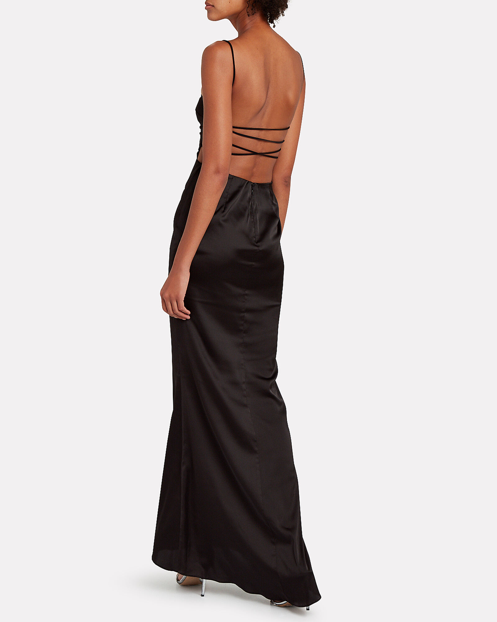 Genesse Open Back Charmeuse Gown, BLACK, hi-res