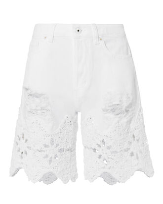 Macrame Denim Walking Shorts, WHITE, hi-res
