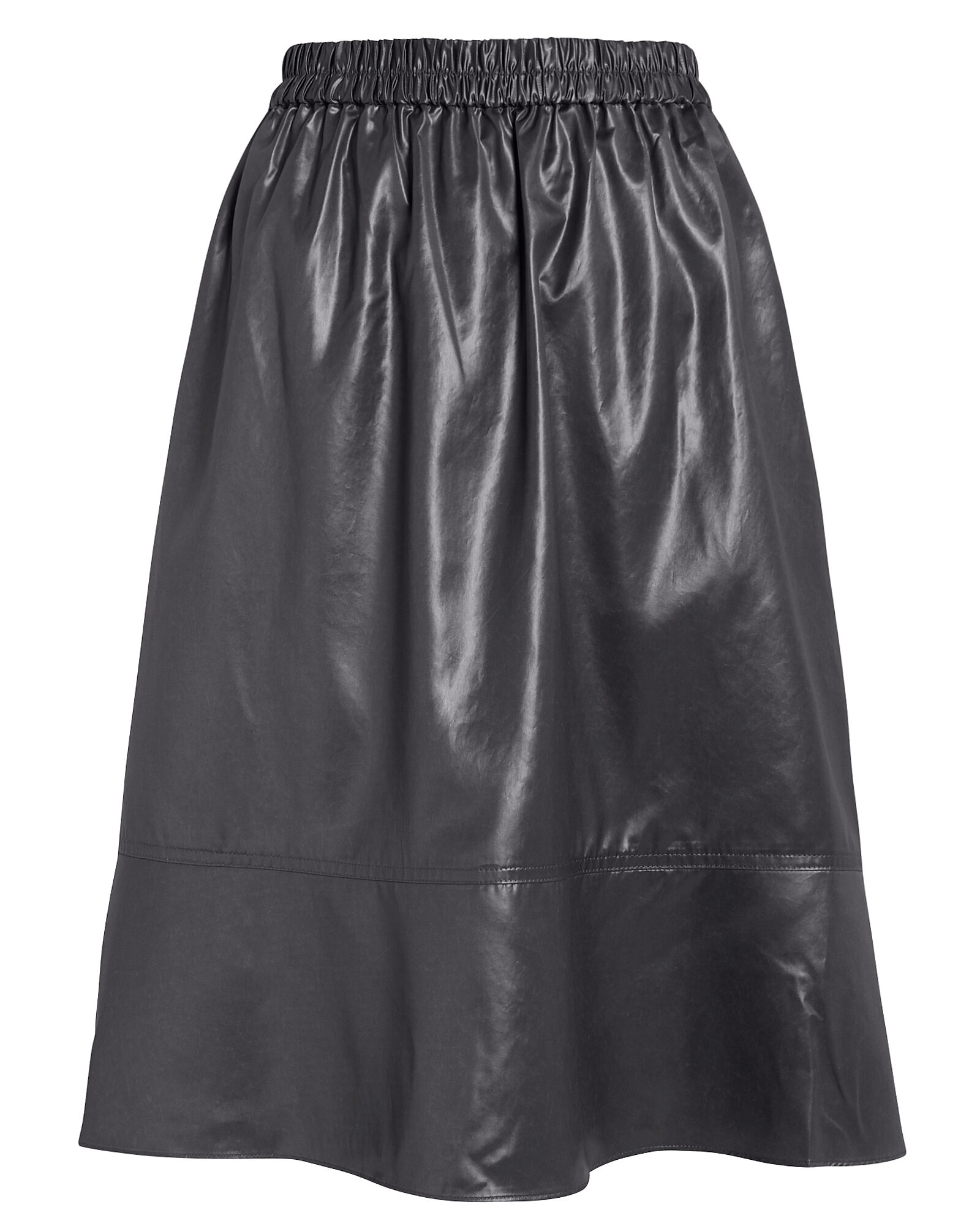 Liquid Drape Vegan Leather Skirt, BLACK, hi-res