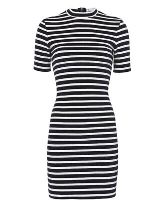 Stripe Velvet Dress, NAVY, hi-res