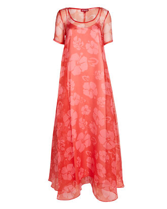 Maui Floral Organza Maxi Dress, RED, hi-res