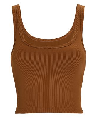 Cropped Rib Knit Tank Top, BROWN, hi-res