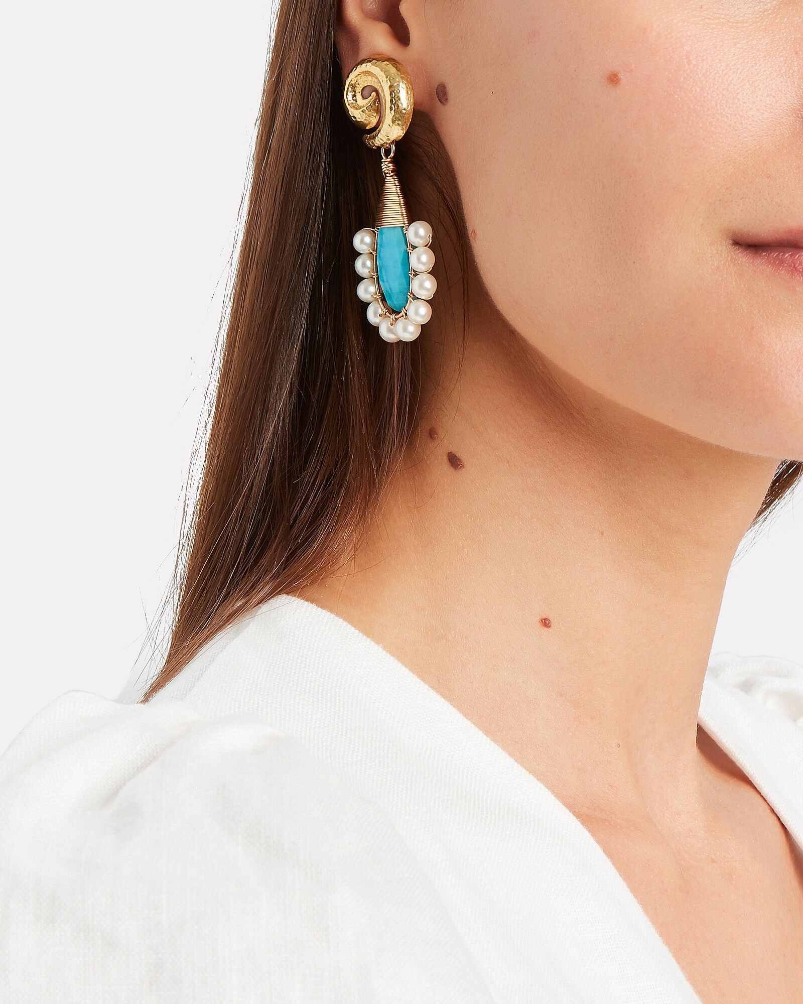 Lolita Turquoise Drop Earrings, GOLD/TURQUOISE, hi-res