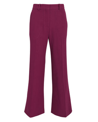 Cropped Kick Trousers, BERRY, hi-res