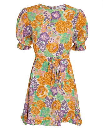 Florence Floral Mini Dress, MULTI, hi-res