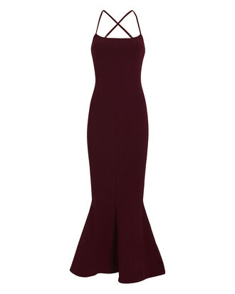 Verla Crepe Flared Dress, BURGUNDY, hi-res