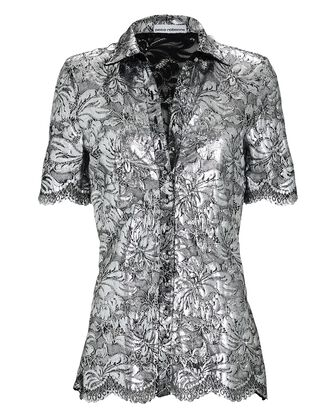 Coated Lace Short Sleeve Shirt, SILVER, hi-res