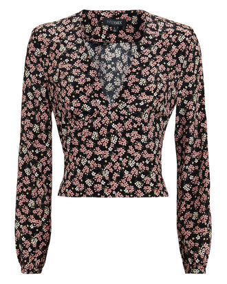 Raven Floral Top, BLACK, hi-res