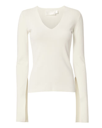 Orlina Split Sleeve V-Neck Top, BEIGE/KHAKI, hi-res